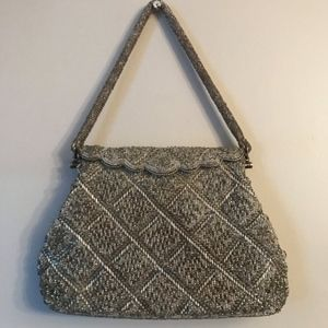 Vintage Silver Beaded Evening Bag